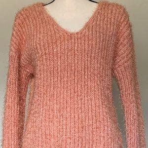 Pink Rose Eyelash Fuzzy Sweater